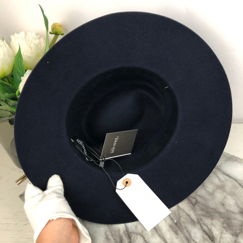 Maison Michel Paris Navy Wool Felt Hat with Black GrossGrain Trim