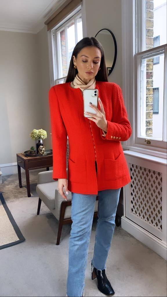 Chanel Coral Red Tweed Jacket Size FR40 (UK12)