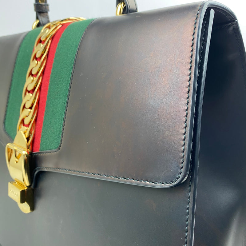 Gucci Large Sylvie Bag with GrossGrain Ribbon and Gold Chain