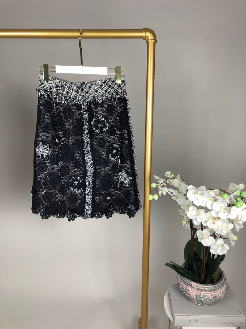 Chanel Tweed Floral Applique Black and White Two Piece Set Size 36 (UK8)