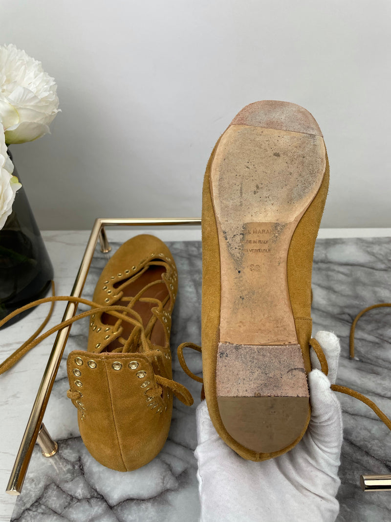Isabel Marant Tan Suede Lace-Up Pumps Size 38
