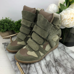 Isabel Marant Olive Wedge Trainers Size 38