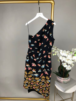 Peter Pilotto One Shoulder Navy Floral Dress Size 14UK