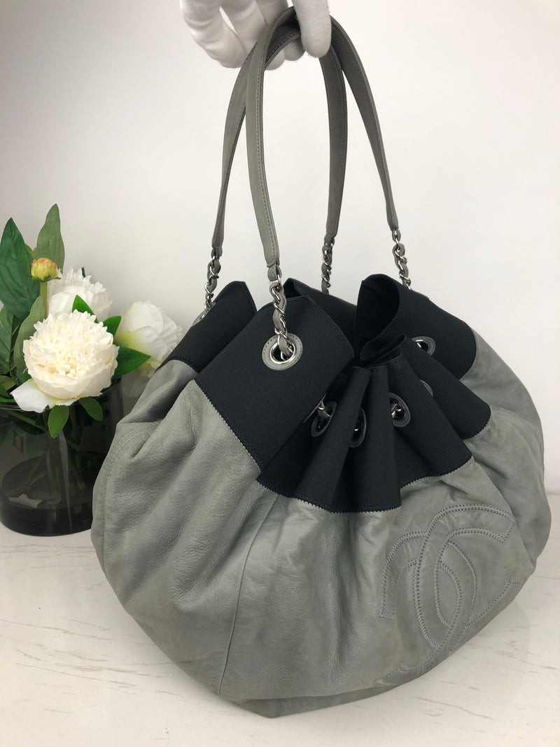 Chanel Grey and Black Iridescent Leather Round Handbag