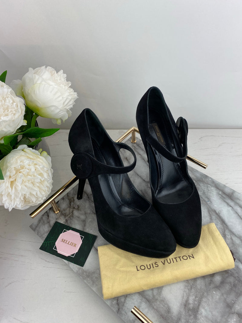 Louis Vuitton Black Suede Heels with Ankle Strap Size 39.5