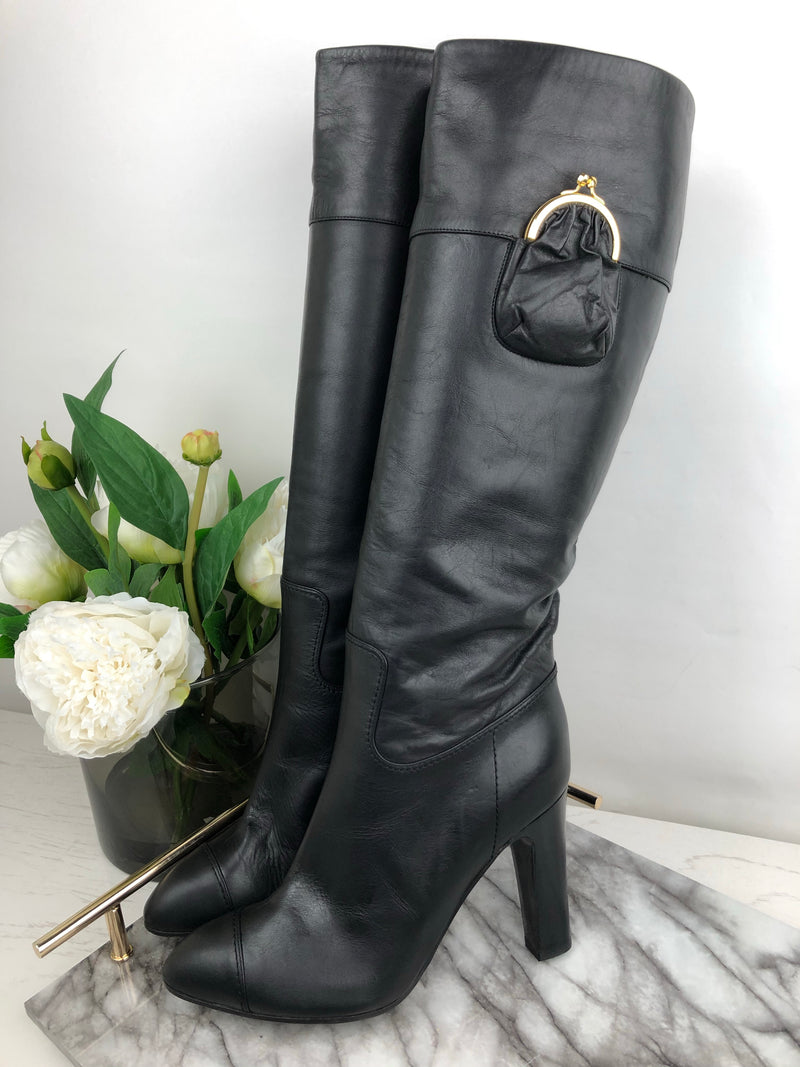 Viktor & Rolf Black Leather Boots with Coin Purse Detail Size 38