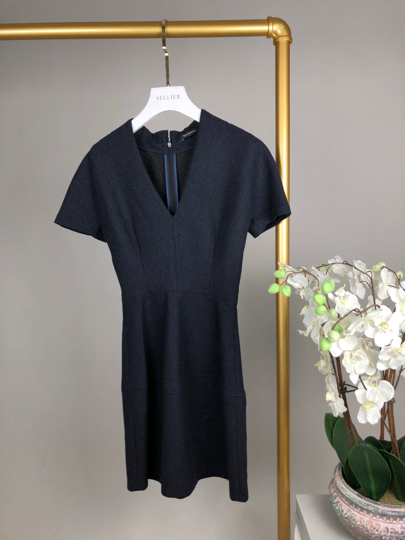 Tara Jarmon Black V-Neck Dress with Cropped Sleeves Size 36 (UK8)