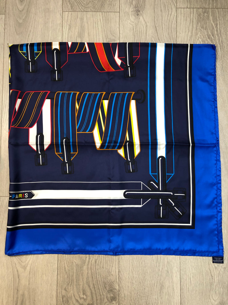 Hermes Blue Silk Buckles Scarf Size Large
