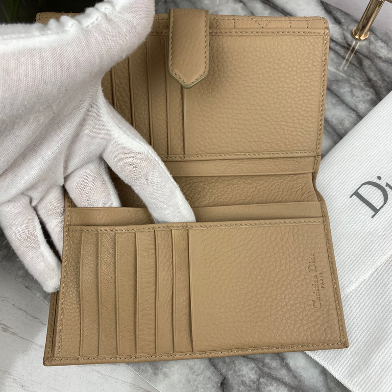 Christian Dior Beige Cannage Wallet
