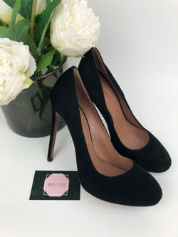 Alaia Black Suede Round Toe High Heel 39.5