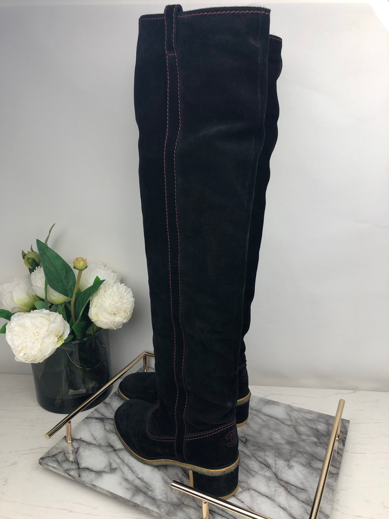 Chanel Black Knee High Suede Boots with Contrast Red Stitching Size 38