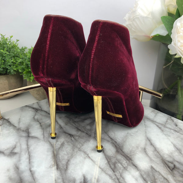Tom Ford Burgundy Velvet Strap Boots with Gold Pin Heels Size 37