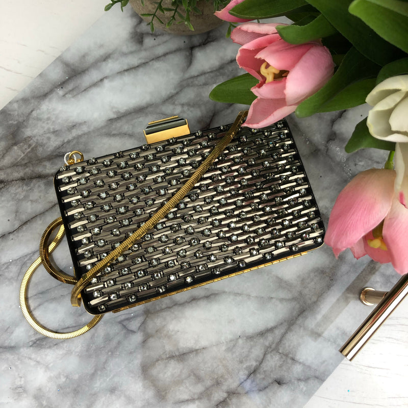 Lanvin Black & Gold Jewel Embellished Clutch