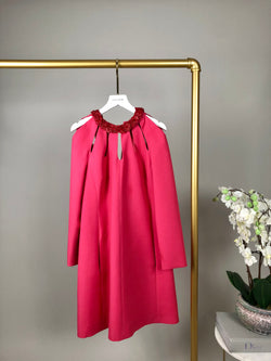 Valentino Hot Pink Silk Dress with Floral Neckline Size 38 (UK 10)
