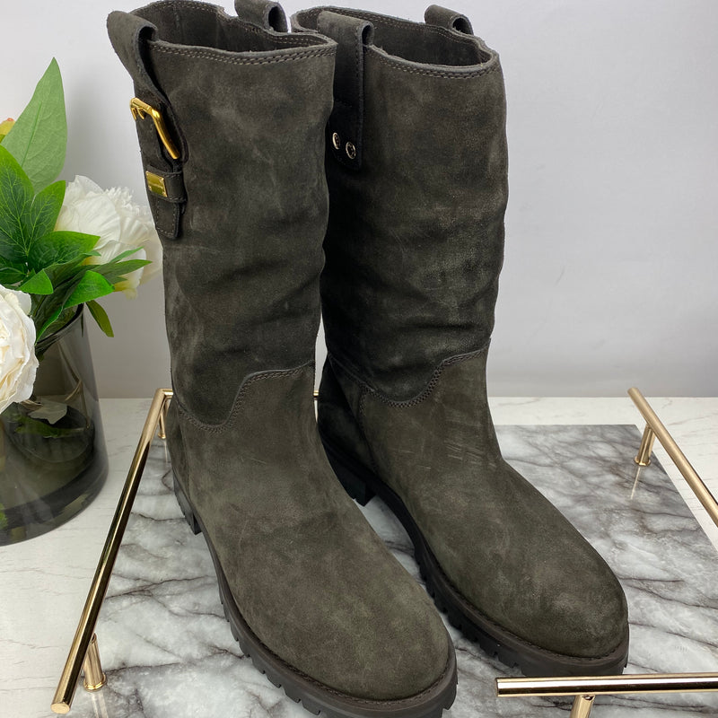 Dolce Gabbana Dark Brown Suede Boots with Fur Lining Size 40.5
