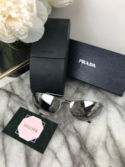 Prada Silver Mirror Cat Eye Sunglasses with Metal Frame