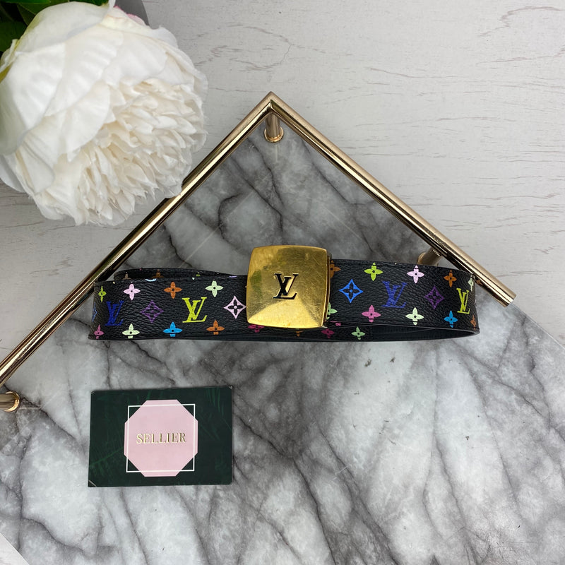 Louis Vuitton Black and Multicolour Leather Belt with Gold Buckle