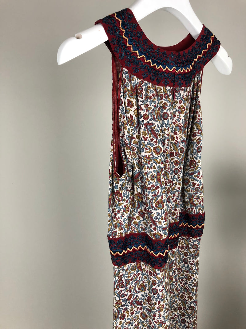 Kalitha Navy and Red Silk Embroidered Maxi Dress Size S
