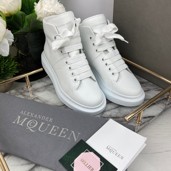 Alexander McQueen White High-Top Trainers Size 35