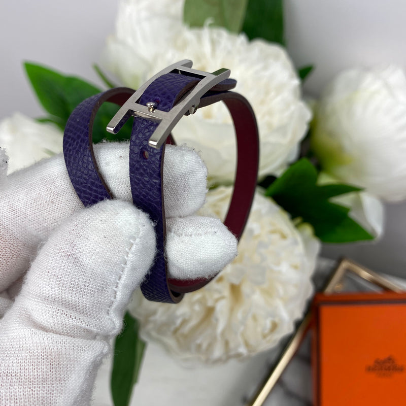 Hermes Purple Double Wrap Bracelet with Silver H Buckle