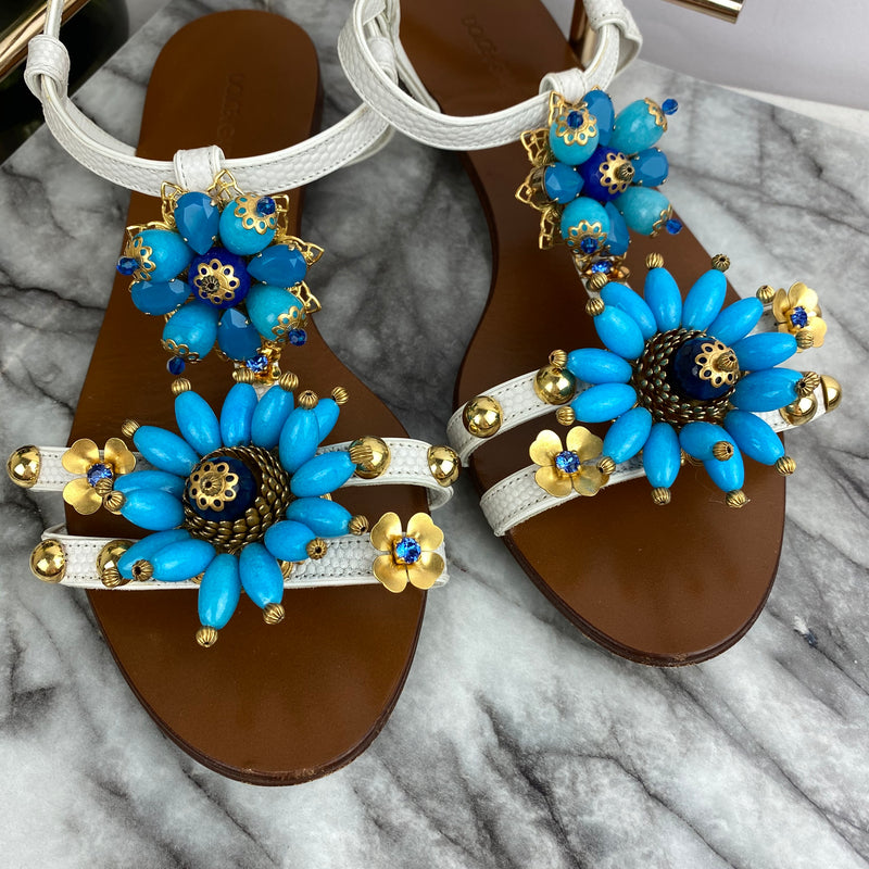 Dolce & Gabbana Blue and Gold Flower Crystal Sandals Size 38