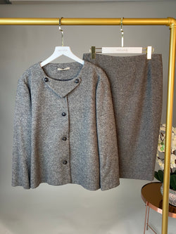Bottega Veneta Grey Skirt and Jacket Set Size 46