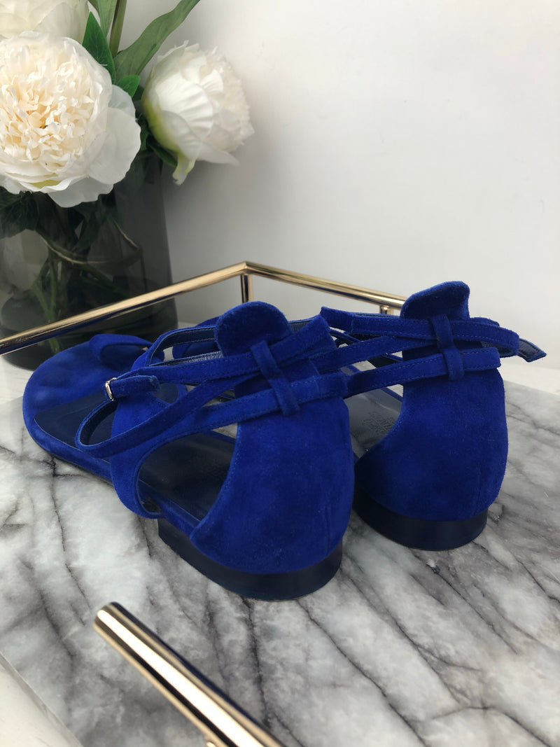 Hermes Electric Blue Suede Sandals Size 39