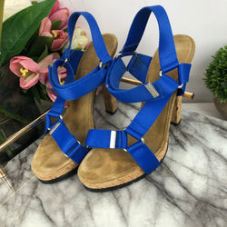 Dsquared Cobalt Blue Canvas Heel Straps with Cork Heel Size 36