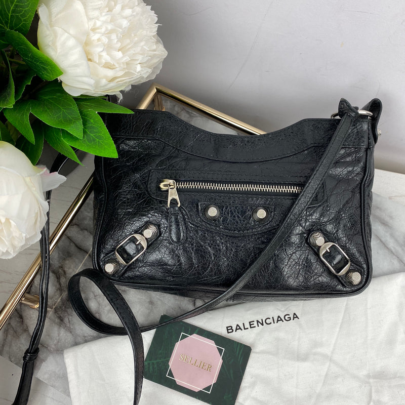 Balenciaga Black Cross Body Stud Bag