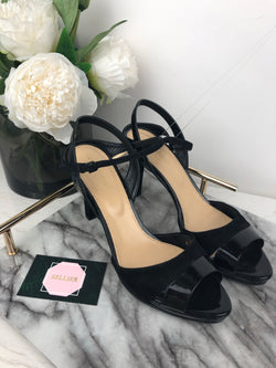 Sergio Rossi Black Suede and Patent Peep Toe Heels Size 39.5
