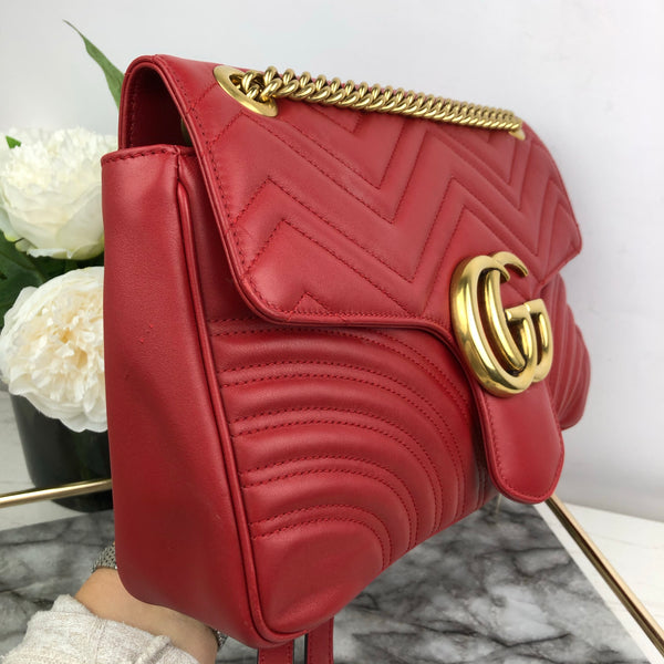 Gucci Large Red Marmont Leather Bag with Gold Hardware