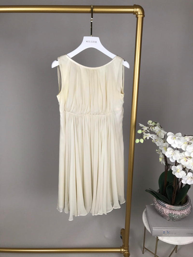 Dolce & Gabbana Cream Pleated Dress Size 40 (UK8)