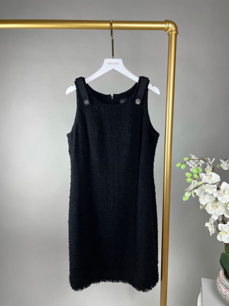 Chanel Black Tweed Dress with Fringe Hem and Buttoned Shoulders Size 40 (UK12)