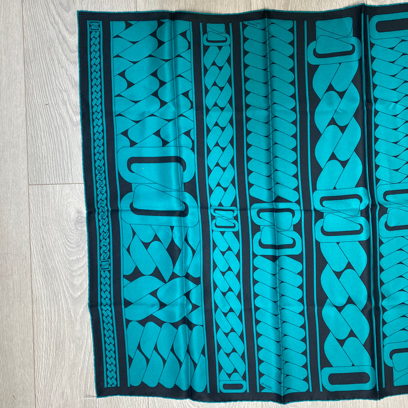 Hermes Turquoise and Black Scarf Medium