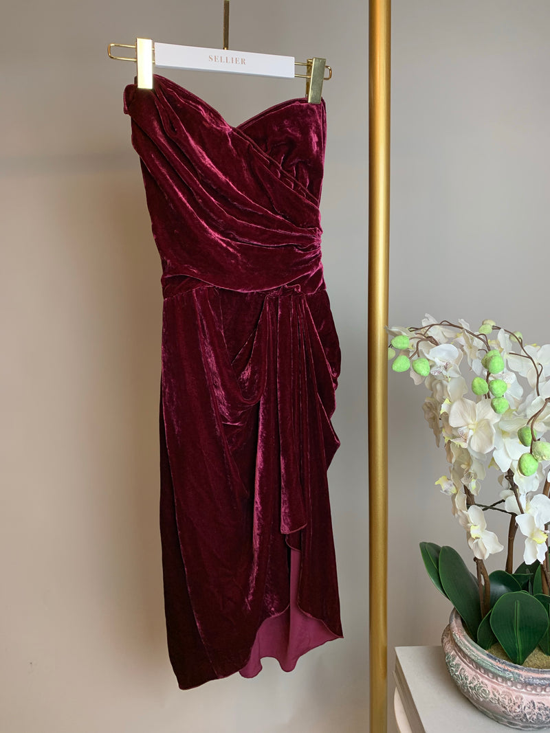 Dolce & Gabbana Burgundy Velvet Dress Size 38 (UK6)