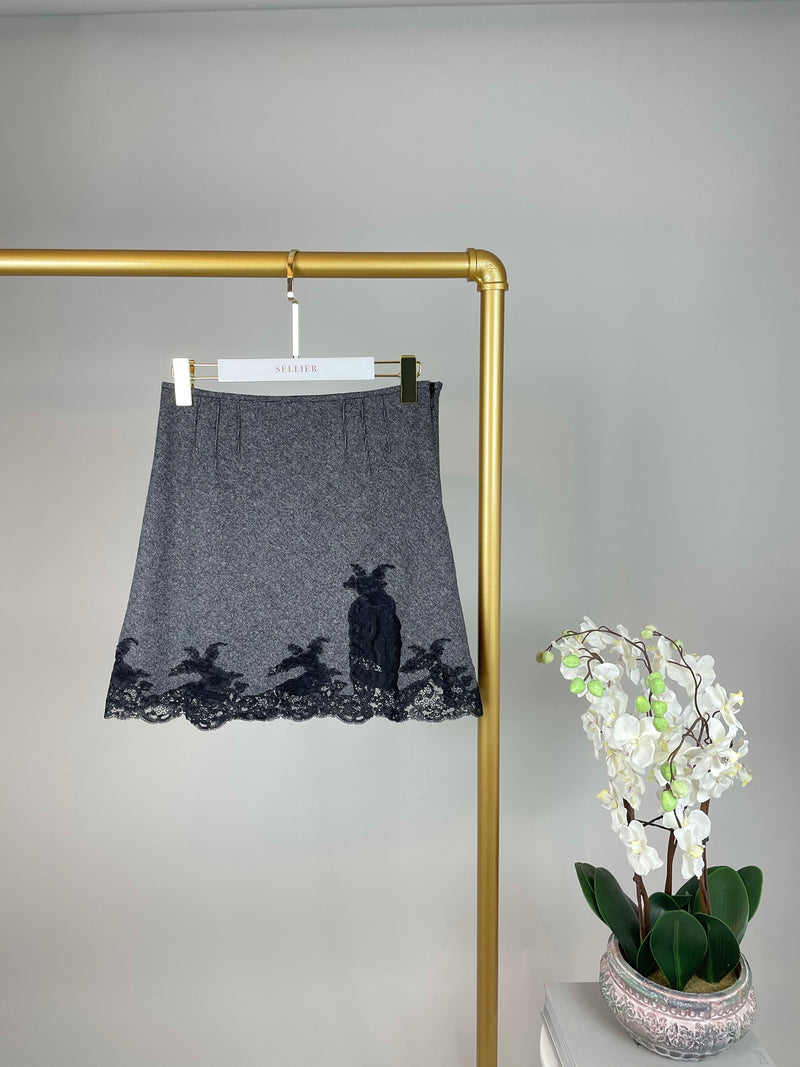 Christian Dior Grey Wool Mini Skirt with Lace Detailing Size 36 (UK 8)