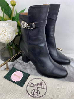Hermes Black Joueuse Kelly Boots Size 38