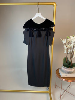 Fendi Black Velvet Bow Dress Size 6UK