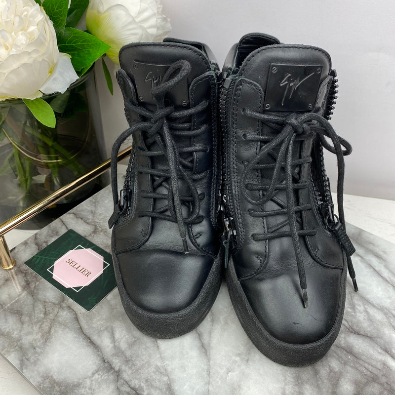 Giuseppe Zanotti Black Leather Trainers with Zip Detail Size 38.5