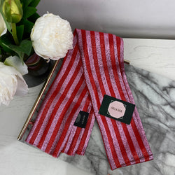 Gucci Red and Pink Stripe Metallic Silk Scarf