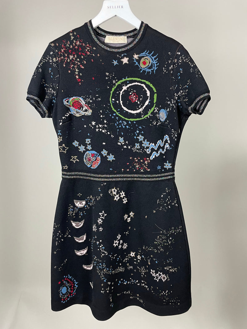 Valentino Black Short Sleeve Space Dress Size M