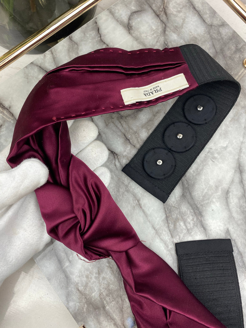 Prada Burgundy Satin Knot Belt