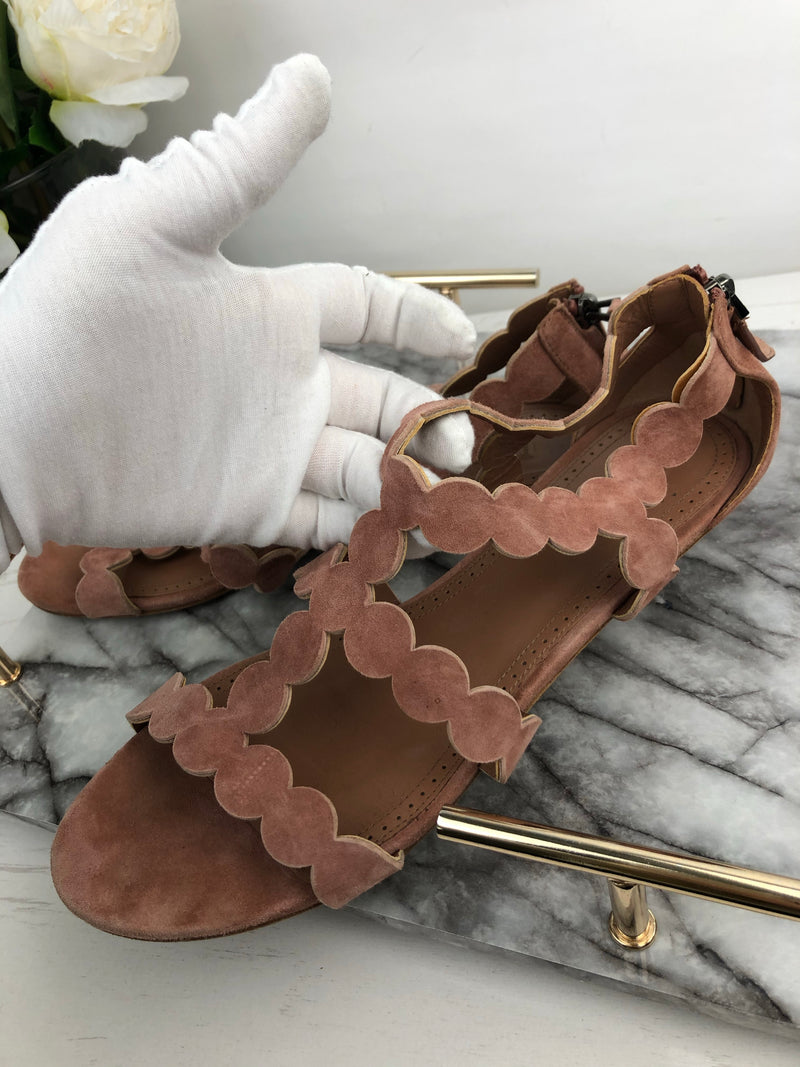 Alaia Dusty Pink Suede Sandals Size 40 RRP £790