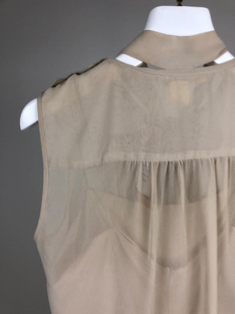 Marc Jacobs Beige Silk Sleeveless Blouse Size UK10
