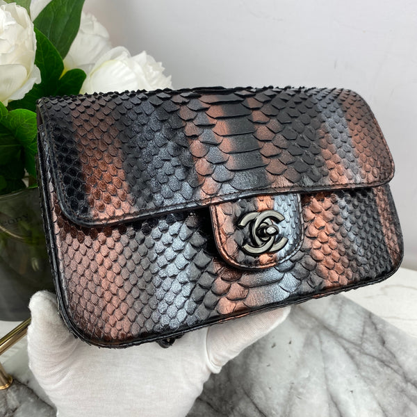 Chanel Small Bronze and Grey Python Classic Flap with Gunmetal Hardware