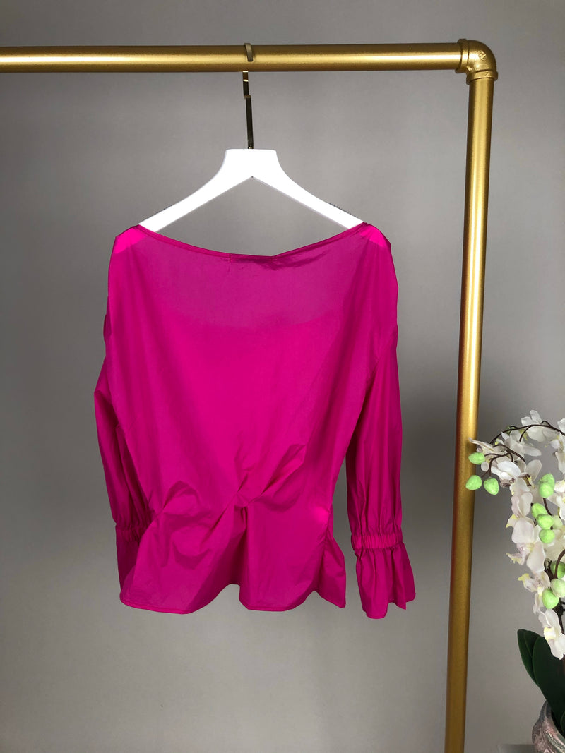 Rejina Pyo Hot Pink Knotted Shoulder Top Size 6 (UK10)