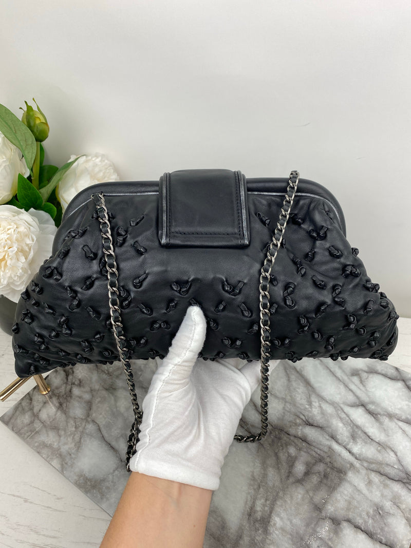 Chanel Black Limited Edition Timeless Clutch on Chain with Leather Knot Quilting Detail