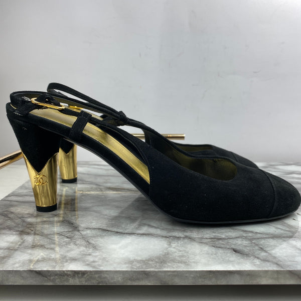 Chanel Black Slingback Heels with Gold Stem Size 40.5