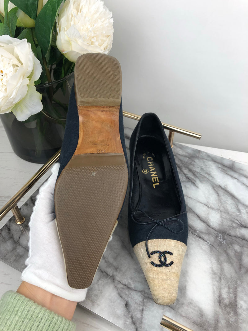 Chanel Navy Beaded CC Logo Pumps Size 36.5