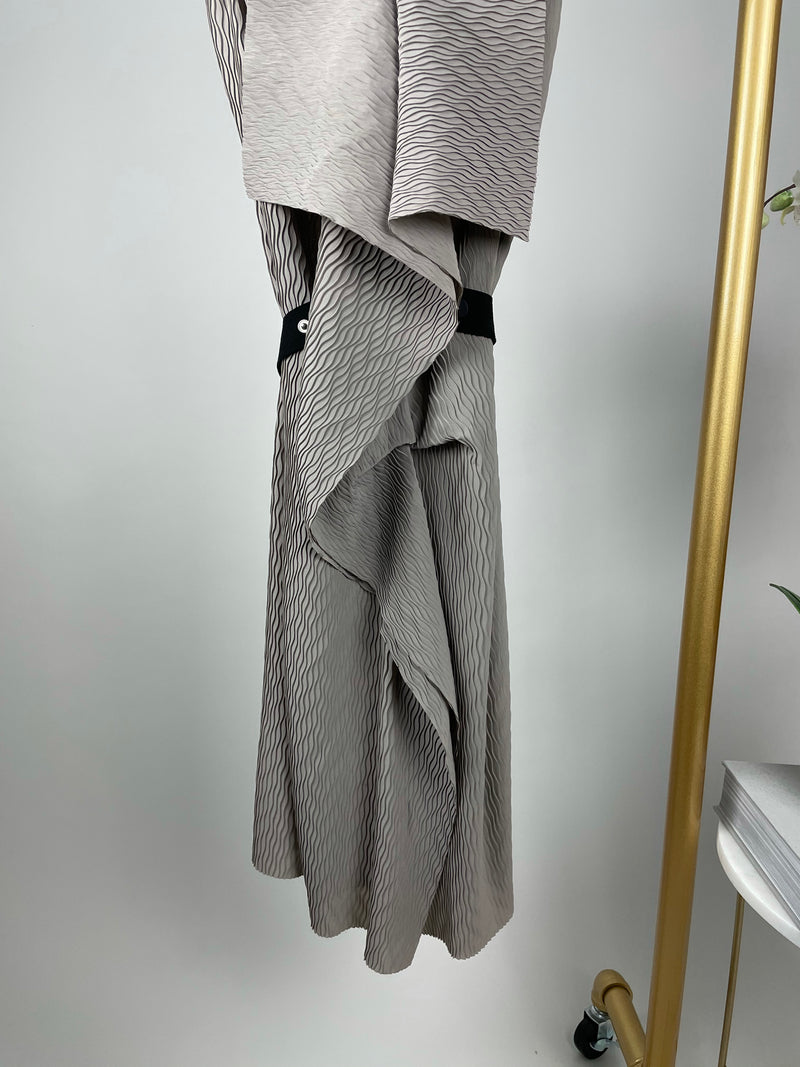 Roland Mouret Grey Pleated Dress Size 40